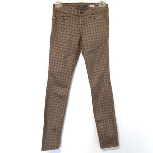 Level 99 Jeans - Level99 Janice ultra skinny tan silver houndstooth